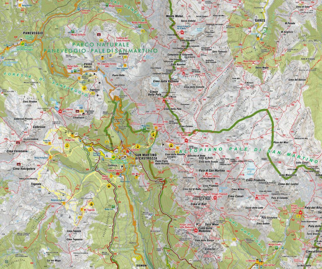 Estratto della mappa sentieri San Martino di Castrozza