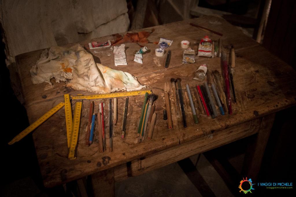 Alcuni strumenti di Folon nel suo Atelier